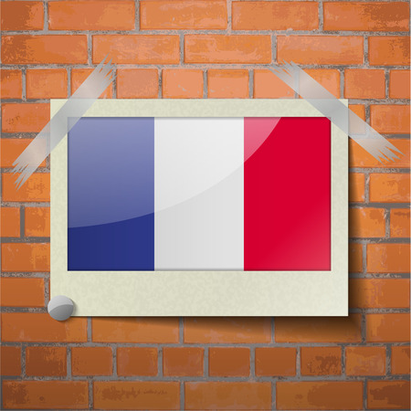 frence: Flags of Frence scotch taped to a red brick wall. Vector