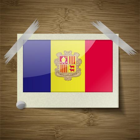 andorra: Flags of Andorra at frame on wooden texture. Vector illustration Illustration