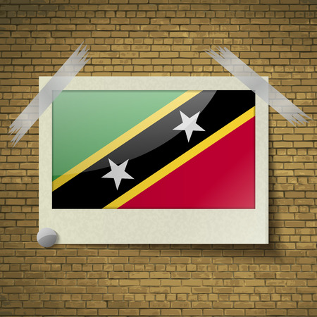proportional: Flags of Saint Kitts and Nevis at frame on a brick background. Vector illustration