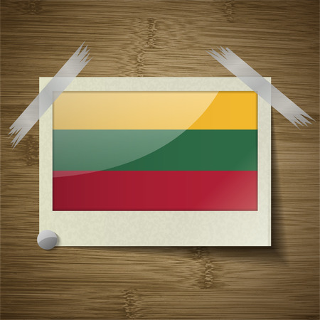 europe closeup: Flags of Lithuania. at frame on wooden texture. Vector illustration