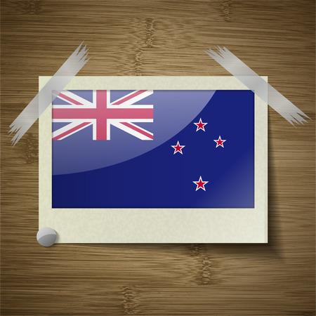 new zeland: Flags of New Zeland at frame on wooden texture. Vector illustration Illustration