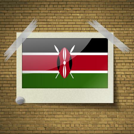 proportional: Flags of Kenya at frame on a brick background. Vector illustration