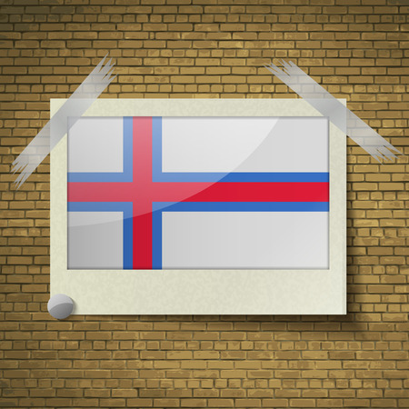 british culture: Flags of Faroe Islands at frame on a brick background. Vector illustration