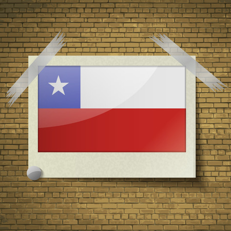 brick background: Flags of Chile at frame on a brick background. Vector illustration