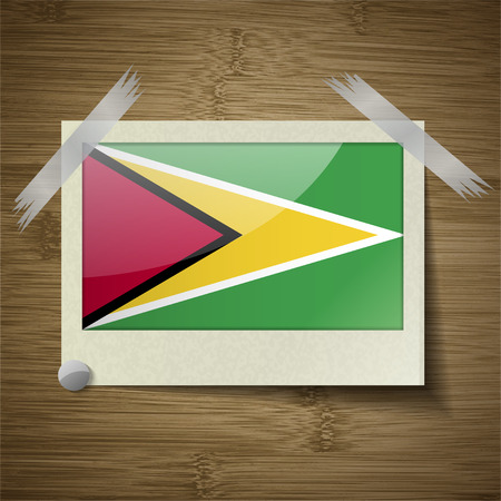 guyana: Flags of Guyana at frame on wooden texture. Vector illustration