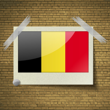 brick background: Flags of Belgium at frame on a brick background. Vector illustration