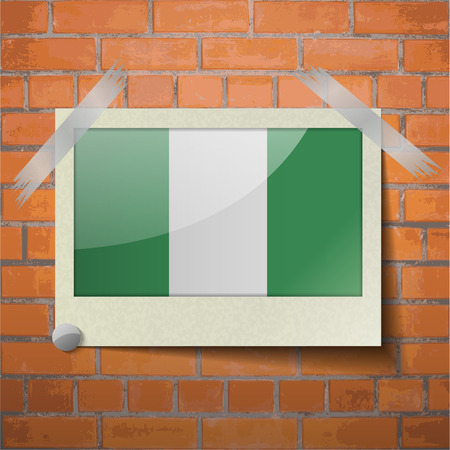 anthem: Flags of Nigeria scotch taped to a red brick wall. Vector