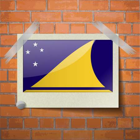 tokelau: Flags of Tokelau scotch taped to a red brick wall. Vector