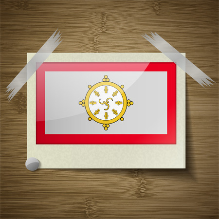 dependency: Flags of SIKKIM at frame on wooden texture. Vector illustration