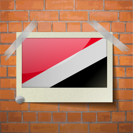 sealand: Flags of Sealand Principality scotch taped to a red brick wall. Vector
