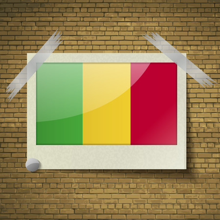 benin: Flags of Mali at frame on a brick background. Vector illustration