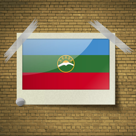 federal district: Flags of KarachayCherkessia at frame on a brick background. Vector illustration