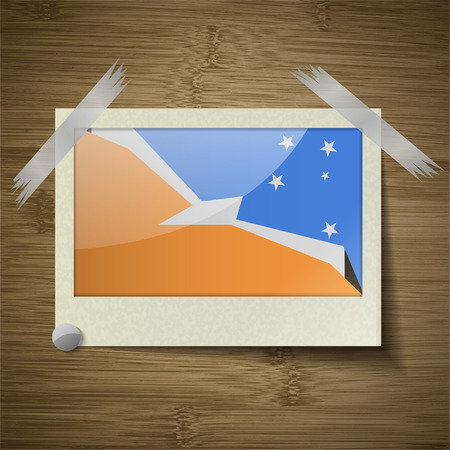 tierra: Flags of Tierra del Fuego Province at frame on wooden texture. Vector illustration Illustration