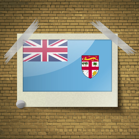brick background: Flags of Fiji at frame on a brick background. Vector illustration Vettoriali