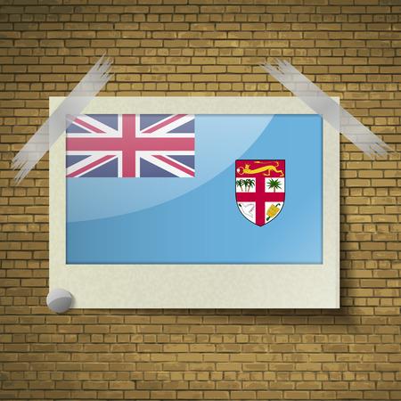 fiji: Flags of Fiji at frame on a brick background. Vector illustration Stock Illustratie