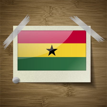 proportion: Flags of Ghana at frame on wooden texture. Vector illustration Illustration