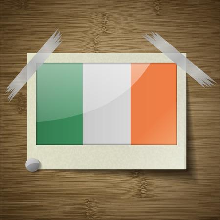 irish banners: Flags of Ireland at frame on wooden texture. Vector illustration Illustration