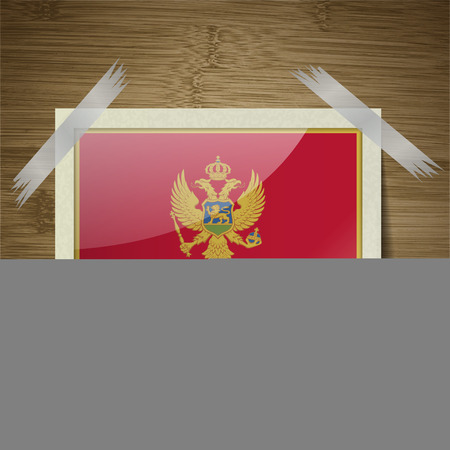 montenegro: Flags of Montenegro at frame on wooden texture. Vector illustration