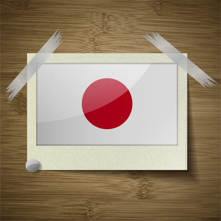 hinomaru: Flags of Japan at frame on wooden texture. Vector illustration