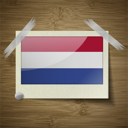 constitutional: Flags of Netherlands at frame on wooden texture. Vector illustration Illustration