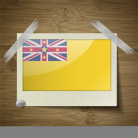 niue: Flags of Niue at frame on wooden texture. Vector illustration
