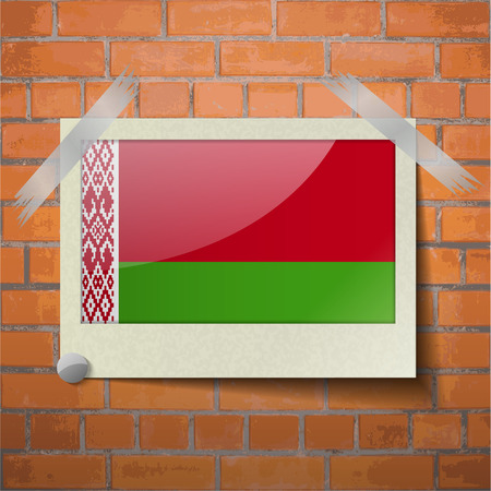scotch: Flags of Belarus scotch taped to a red brick wall. Vector Illustration