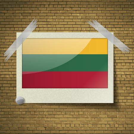 europe closeup: Flags of Lithuania. at frame on a brick background. Vector illustration Illustration