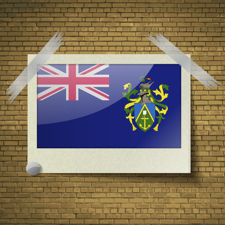pitcairn: Flags of Pitcairn Islands at frame on a brick background. Vector illustration
