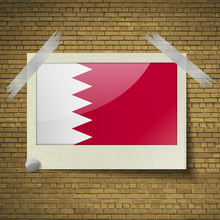 correctly: Flags of Bahrain at frame on a brick background. Vector illustration