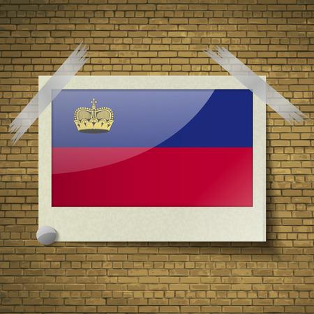 Flags of Liechtenstein at frame on a brick background. Vector illustration