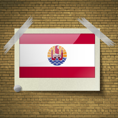 polynesia: Flags of french polynesia at frame on a brick background. Vector illustration