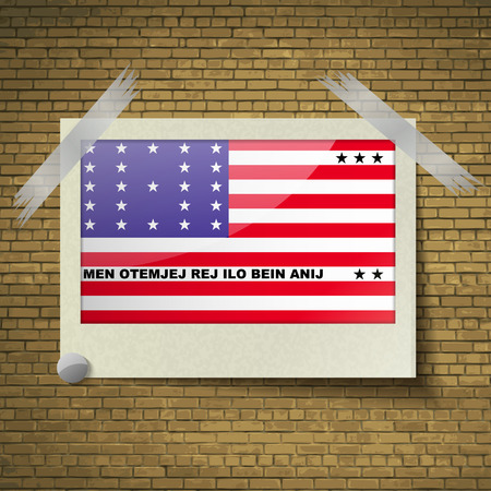 wallpaper  eps 10: Flags of Bikini Atoll at frame on a brick background. Vector illustration