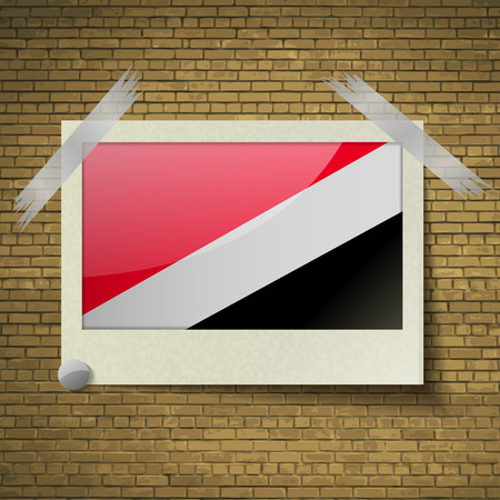 sealand: Flags of Sealand Principality at frame on a brick background. Vector illustration