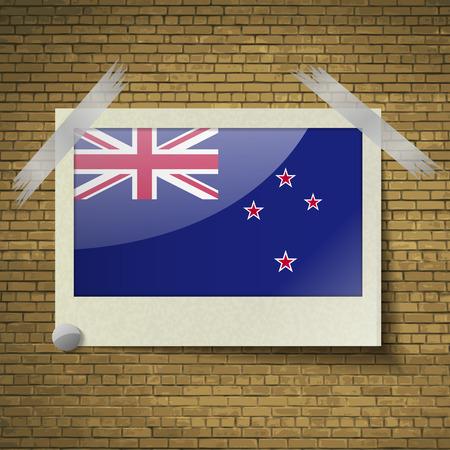 brick background: Bandiere della Nuova Zelanda a telaio su uno sfondo di mattoni. Illustrazione vettoriale