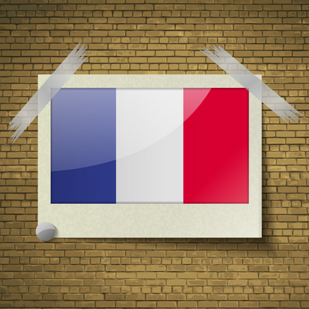 frence: Flags of Frence at frame on a brick background. Vector illustration