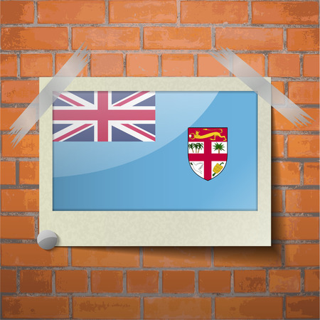 proportional: Flags of Fiji scotch taped to a red brick wall. Vector