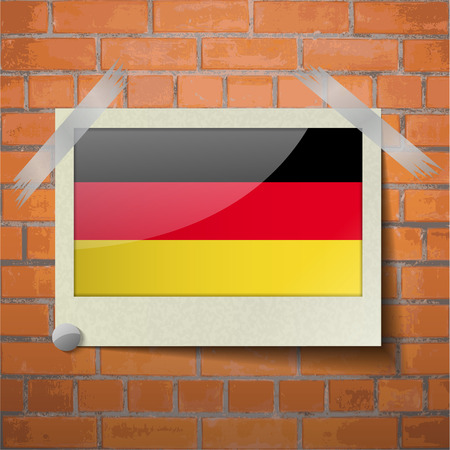 deutsch: Flags of Germany scotch taped to a red brick wall. Vector