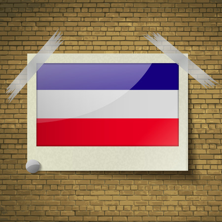 brick background: Flags of Los Altos at frame on a brick background. Vector illustration
