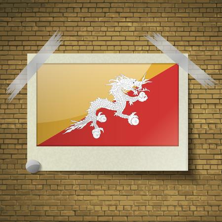 bhutan: Flags of Bhutan at frame on a brick background. Vector illustration Illustration