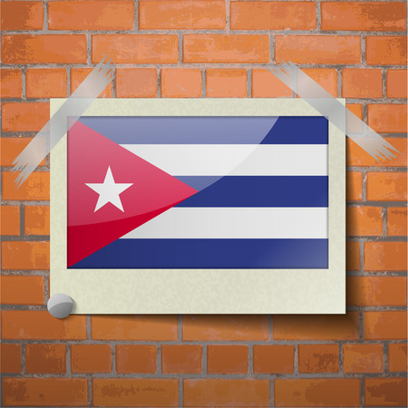 scotch: Flags of Cuba scotch taped to a red brick wall. Vector Illustration