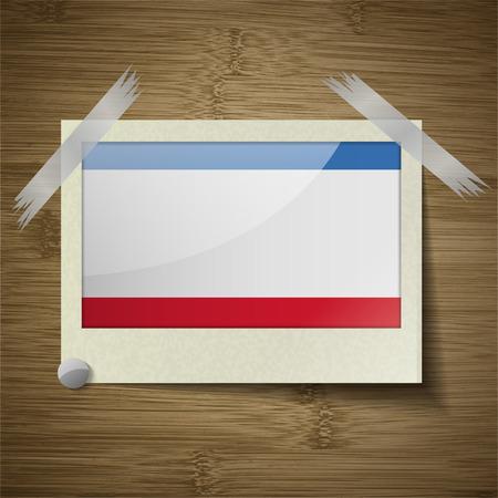 crimea: Flags of Crimea at frame on wooden texture. Vector illustration