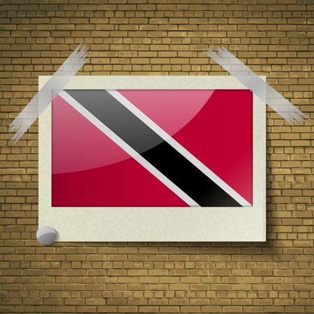 trinidadian: Flags of Trinidad and Tobago at frame on a brick background. Vector illustration