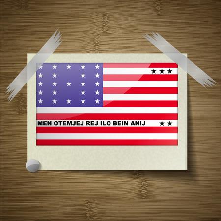 atoll: Flags of Bikini Atoll at frame on wooden texture. Vector illustration Illustration
