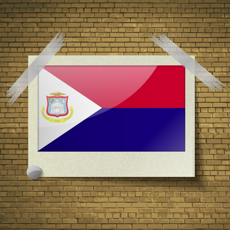 martin: Flags of Saint Martin at frame on a brick background. Vector illustration
