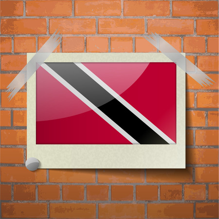 trinidadian: Flags of Trinidad and Tobago scotch taped to a red brick wall. Vector