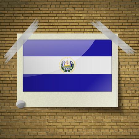 brick background: Bandiere di El Salvador in cornice su uno sfondo di mattoni. Illustrazione vettoriale