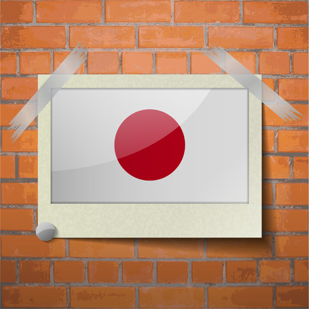 hinomaru: Flags of Japan scotch taped to a red brick wall. Vector