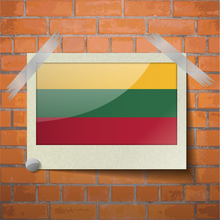 europe closeup: Flags of Lithuania. scotch taped to a red brick wall. Vector