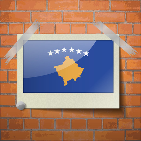 travel locations: Flags of Kosovo scotch taped to a red brick wall. Vector Illustration