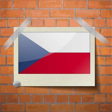 scotch: Flags of Czech Republic scotch taped to a red brick wall. Vector Illustration